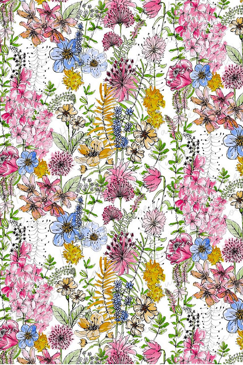 Gift Wrap - Wild Flowers on White
