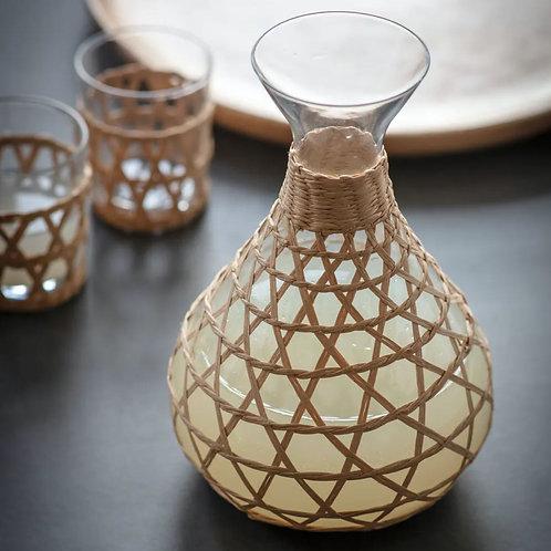 Glass & Rattan Carafe