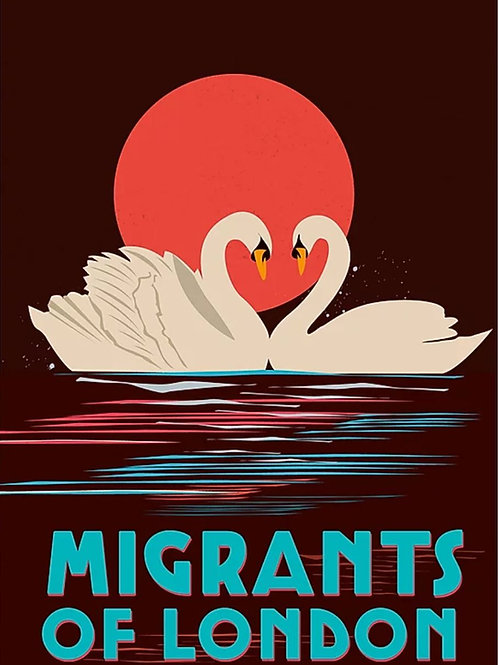 Migrants of London 'Mute Swan Embrace' Print