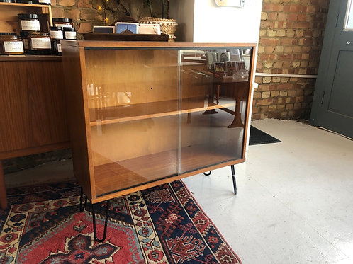 Teak Glass Fronted Bookcase