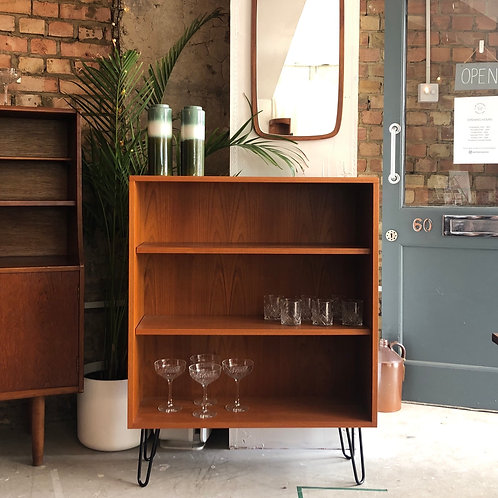 Teak bookcase on hairpin legs