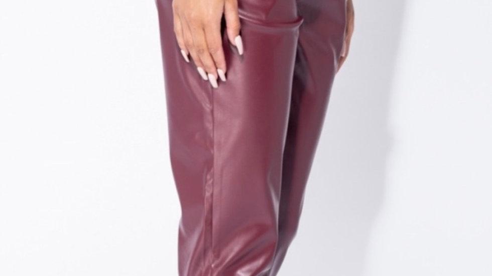 Wine PU skinny Trousers