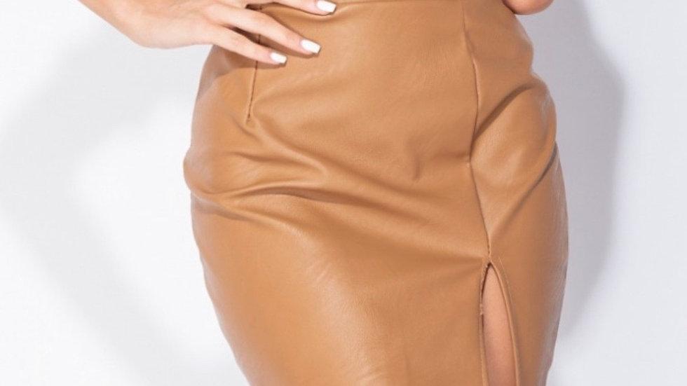 PU mini skirt with slit