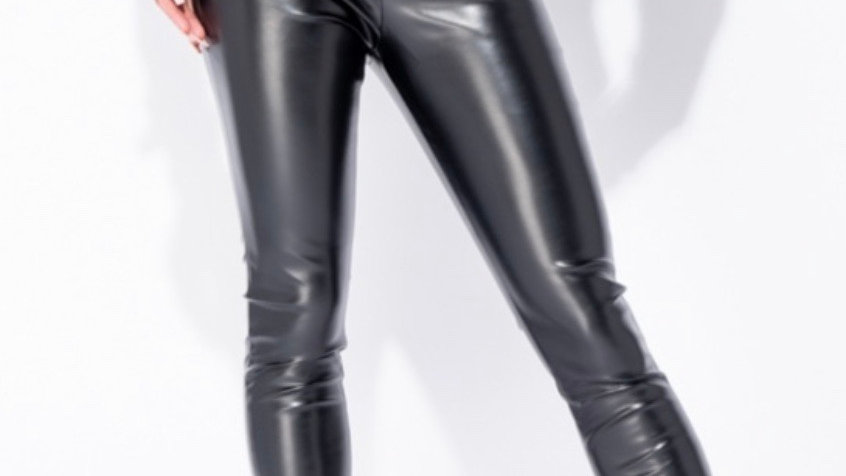 Belted PU skinny trousers