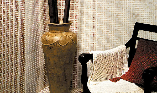 Ambiente termas burdeos y crema 20x30. azulejo imitacion gresite. ceramhome azulejos roman