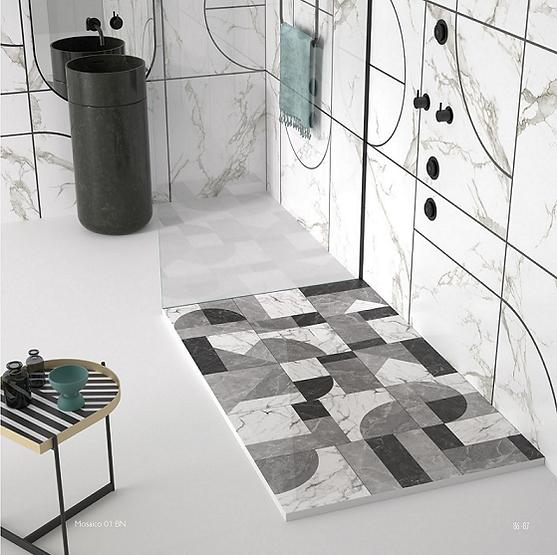 Plato ducha Stone 3D mosaico 1 BN Duplach.
