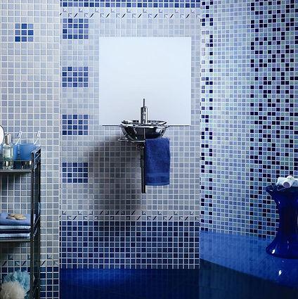 azulejo kubic azul. kubic neon. azulejo imitación gresite. cambio de bañera por ducha. cerahome azulejos roman