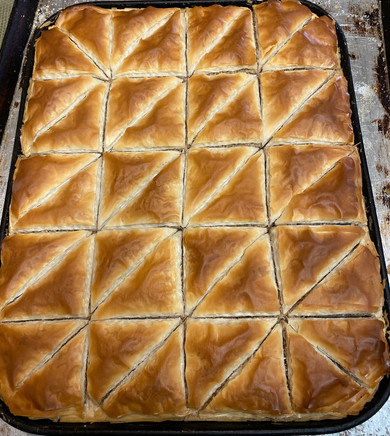 Greek Baklava Out of the Oven