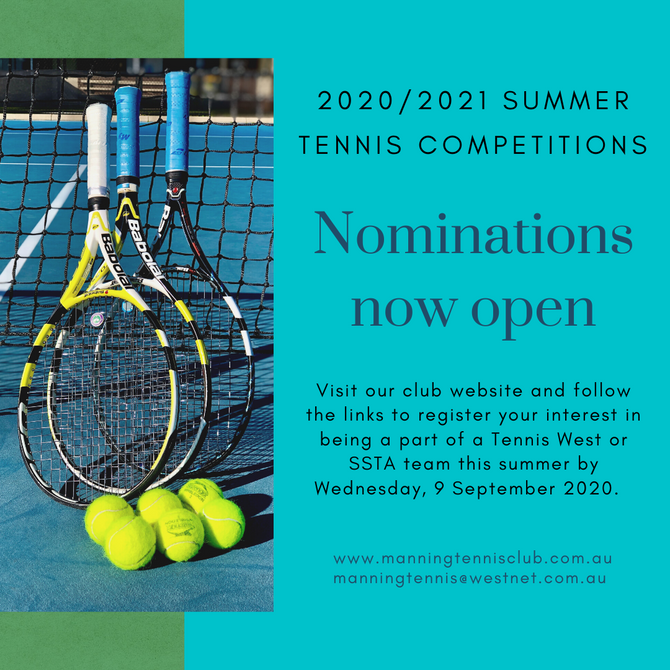 Nominations for 2020/2021 Summer Tennis competitions are now open