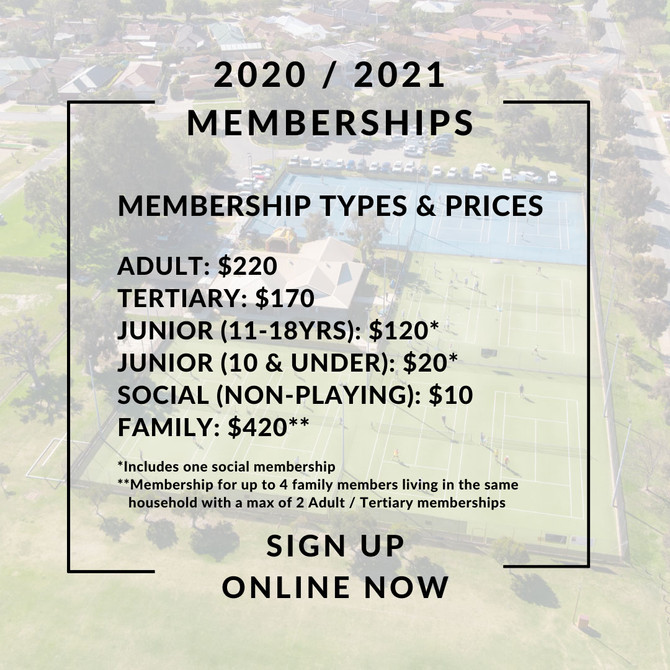2020/2021 Memberships Application now open