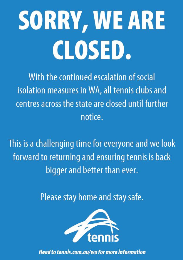 Club update - Temporary closure of Manning Tennis Club and all associated activities