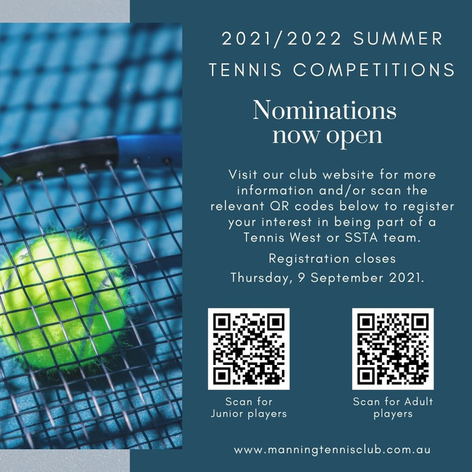 2021/2022 Summer Tennis competitions: Nominations now open