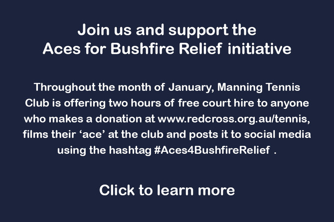 Manning Tennis Club is supporting the Aces for Bushfire Relief initiative