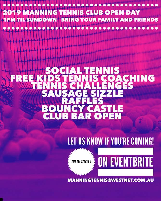 Open Invite: Manning Tennis Club Open Day Saturday 14 September 2019