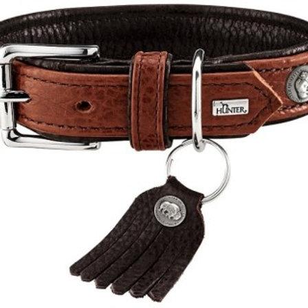 Hunter ошейник для собак Cody 45 (33-39см)/2,8см кожа бизона, коньячный