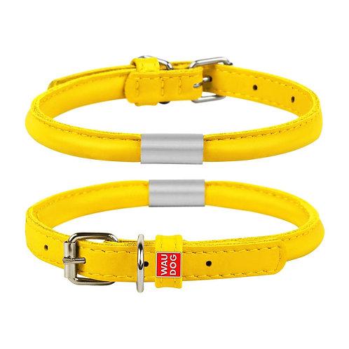 Ошейник WAUDOG GLAMOUR круглый с адресником (желтый)
