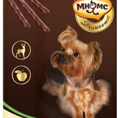 Мнямс деликатес лакомые палочки 13,5см для собак с олениной и яблоком