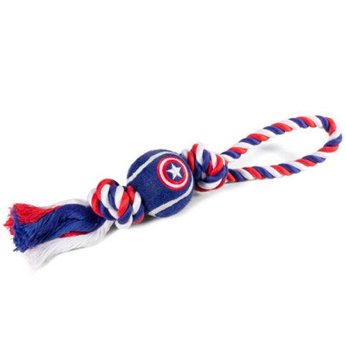 """Игрушка для собак Marvel Капитан Америка """"Веревка и мяч"""""""