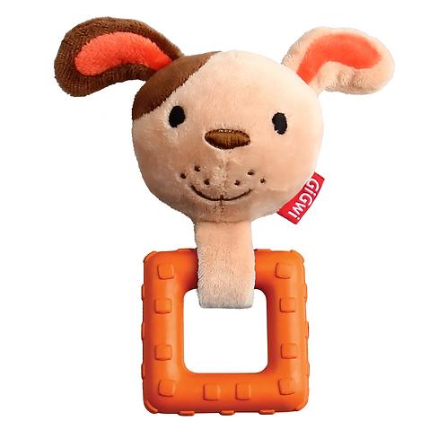"""Игрушка """"Собачка"""" с пищалкой и резиновым квадратиком GiGwi"""
