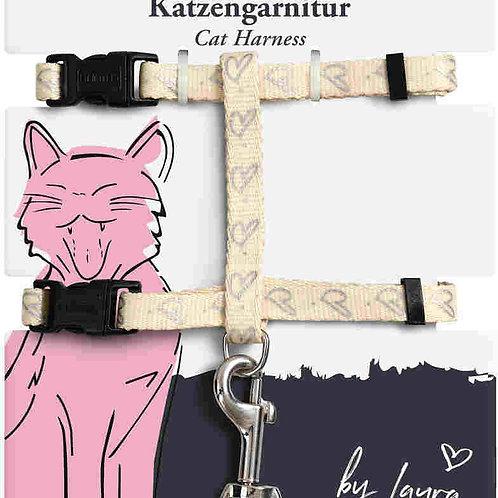 Hunter шлейка для кошек и собак by Laura нейлон кремовая
