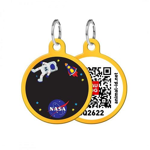 """Адресник WAUDOG Smart ID с QR-паспортом (круг """"NASA"""")"""