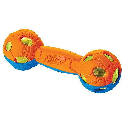 Игрушка для собак Гантель двухцветная светящаяся, 17,5 см