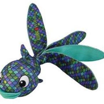 Kong игрушка для собак Wubba Finz Рыба L с пищалкой, синяя