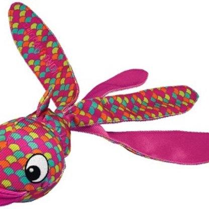 Kong игрушка для собак Wubba Finz Рыба S с пищалкой, розовая