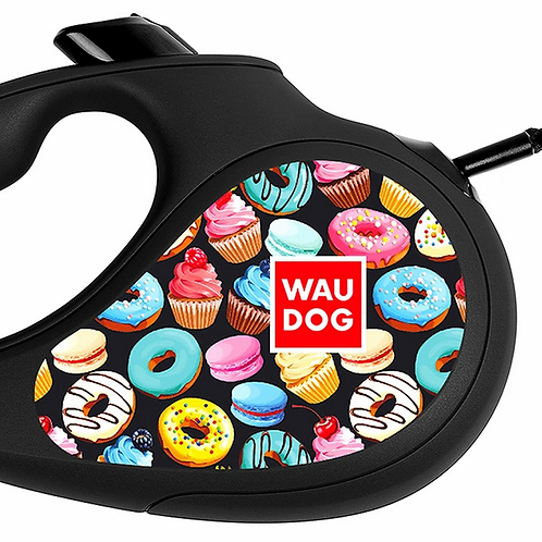 """Поводок-рулетка WAUDOG """"Пончики"""" р-р M, 25кг/5м черный"""