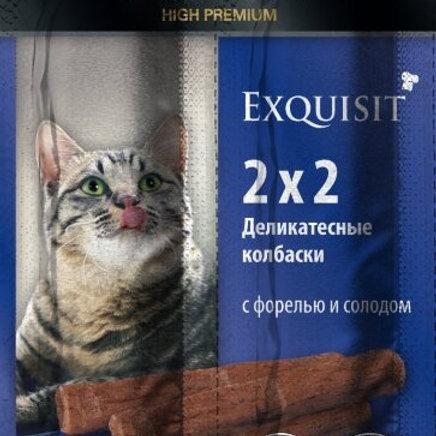Колбаски-мини для кошек с форелью и солодом