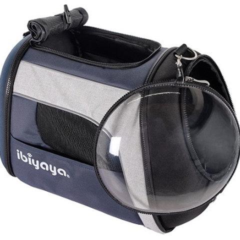 Ibiyaya складная сумка-переноска с окном для собак и кошек до 8кг, синий-серый