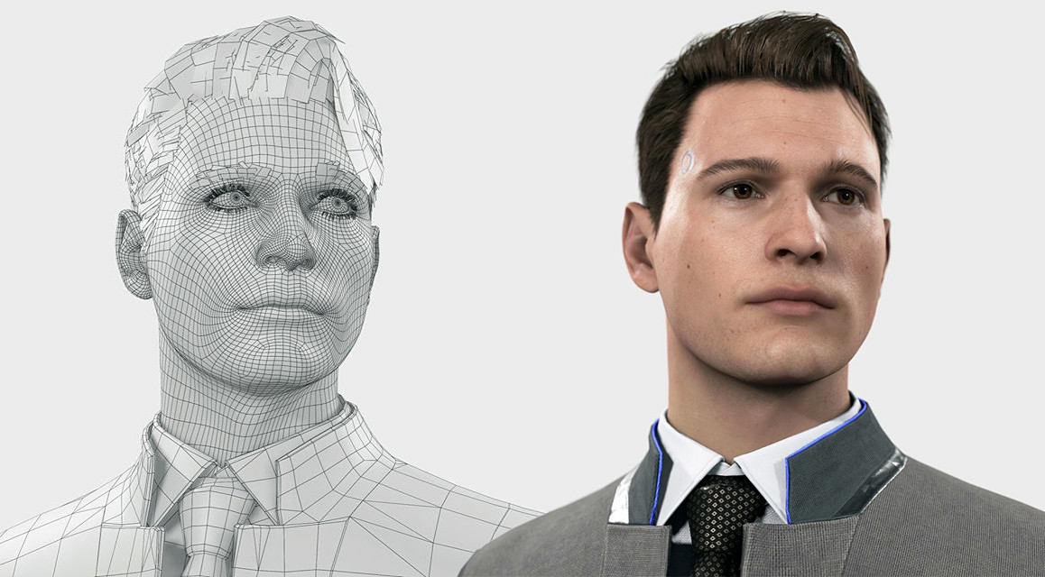 Connor's CG character: Wireframe and Shading