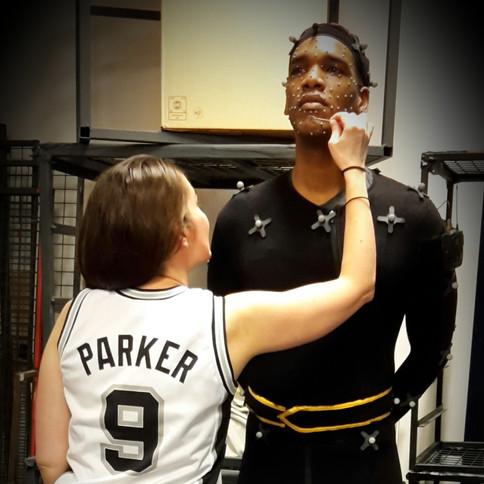 Wearing Parker's Fan jersey