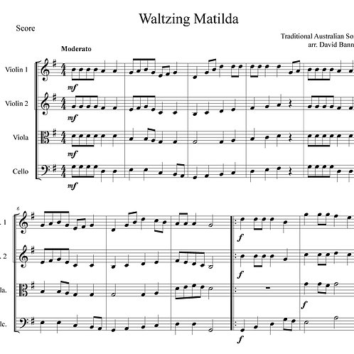 Waltzing Matilda, arranged for string orchestra by David Banney