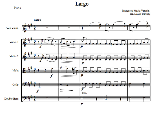 Largo for violin and strings, Francesco Veracini, arr. by David Banney