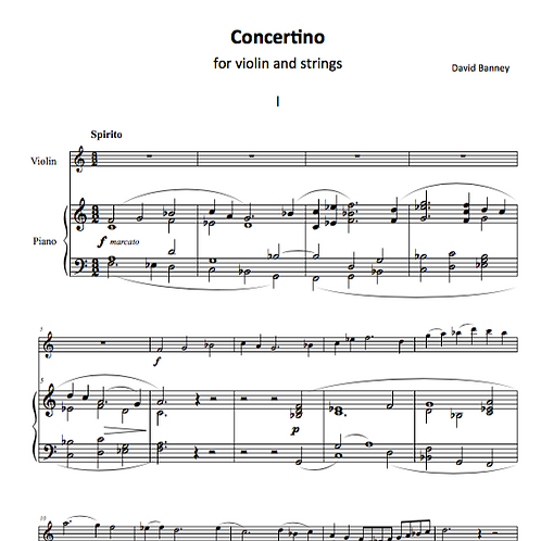 Violin Concertino No 1 (reduction for violin and piano), David Banney