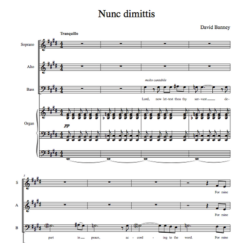 Nunc dimittis (SAB choir and organ), David Banney