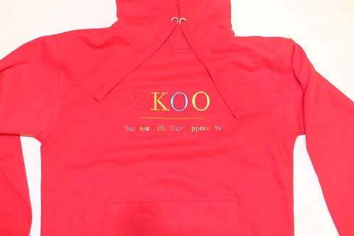 SKOO TAG Hoodie Red Multi Color Embroidery