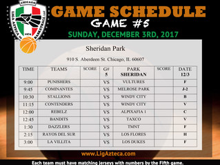 Game schedule for Sunday, December 3rd, 2017 (Game 5)