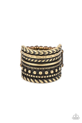 Stacked Odds Brass Ring - R1330