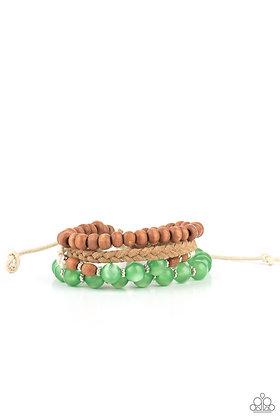 Down HOMESPUN Green Bracelet - B1404