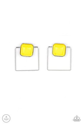 FLAIR and Square Yellow Earring - E1425