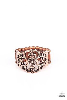 Fanciful Flower Gardens Copper Ring - R1338