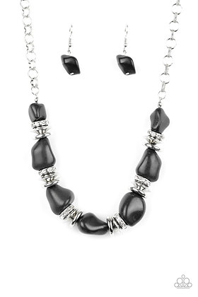 Stunningly Stone Age Black Necklace - N1421