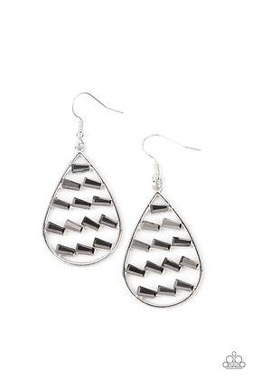 Glitzy Grit Silver Earring - E1349