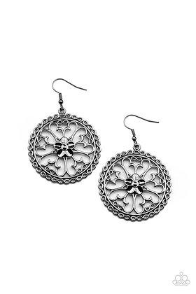 Floral Fortunes Black Earring - Item #E1244
