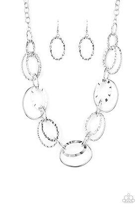 Bend Oval Backwards Silver Necklace - Item # N1257