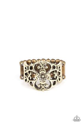Fanciful Flower Gardens Brass Ring - R1339