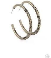 Imprinted Inensity Brass Hoop Earring - E1091