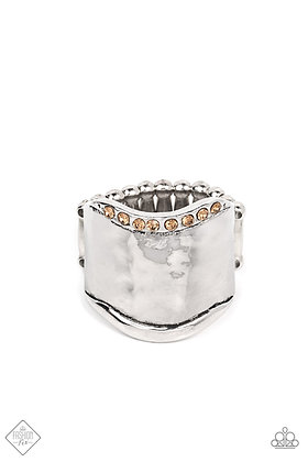 Brilliantly Bordered Brown Ring - R1498
